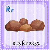 A letter R which stands for rocks