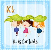 Illustration of an alphabet K is for kids