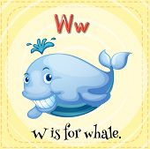 Illustration of an alphabet W is for whale