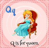 Illustration of an alphabet Q is for queen