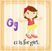 Illustration of an alphabet G is for girl