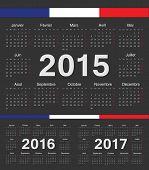 Vector Black French Rcircle Calendars 2015, 2016, 2017