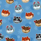 pattern with cute round animals