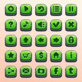 Big set of cartoon green buttons