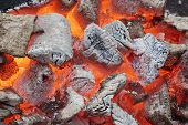 Glowing Coals In Bbq Pit