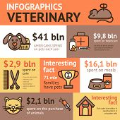 foto of veterinary  - Veterinary infographic set with pet health animal doctor elements vector illustration - JPG