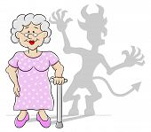 Old Woman With Her Devil Shadow