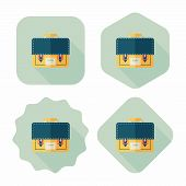 Briefcase School Bag Flat Icon With Long Shadow,eps10