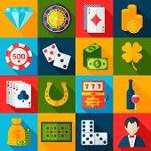 foto of horseshoe  - Casino gambling flat icons set with horseshoe slot machine chips isolated vector illustration - JPG