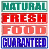 Natural,fresh,food,guaranteed Set Stamp