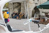 Tallinn,estonia - May 1: Street Musicians At The Evening Near Famous Viru Gate In Old City On May 1,