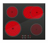 Surface For Electric Inductive Stove Vector Illustration