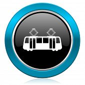 tram glossy icon public transport sign