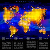 Abstract luminous world map. Web and mobile template. Global business and communication content. Vector illustration