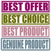 Set Stamp Best Offer, Best Choice,best Product, Genuine Product