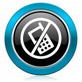 no phone glossy icon no calls sign