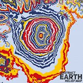 Vector abstract earth relief map. Color madness.