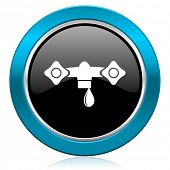 water glossy icon hydraulics sign