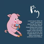 Illustration of an isolated character pig