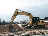 image of boom-truck  - Photo of hydraulic crawler excavator on the construction site - JPG