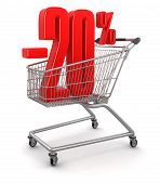 Shopping Cart and -20% (clipping path included)