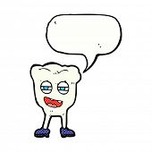 cartoon funny tooth character with speech bubble