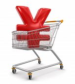 Shopping Cart with Yen  (clipping path included)