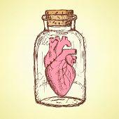 Sketch Valentine Illustration  In Vintage Style