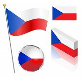 image of flag pole  - Czech Republic flag on a pole badge and isometric designs vector illustration - JPG