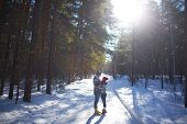 Amorous couple having romantic date in winter forest