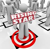 Rising Star 3d word on an employee, worker or staff person to illustrate your best or top performer in the organization, business or company