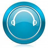 headphones blue icon