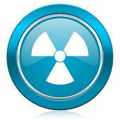 radiation blue icon atom sign