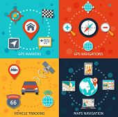 stock photo of gps navigation  - Navigation flat set with gps markers navigations vehicle tracking maps isolated vector illustration - JPG