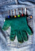 Gloves And A Screwdriver In Jeans Pocket.