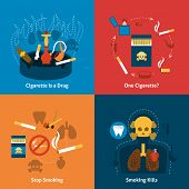 foto of anti-cancer  - Smoking design concept with cigarettes grugs flat icons set isolated vector illustration - JPG