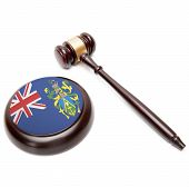 Judge Gavel And Soundboard With National Flag On It - Pitcairn Group Of Islands