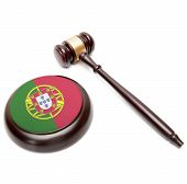 Judge Gavel And Soundboard With National Flag On It - Portugal