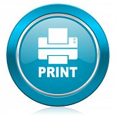 printer blue icon print sign