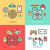 picture of controller  - Drone design concept set isolated with tracking quadrocopter air controllers flat icons isolated vector illustration - JPG