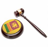 Judge Gavel And Soundboard With National Flag On It - Sri Lanka