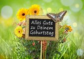 An image of a little chalkboard in the garden with the text all the best on your birthday german language
