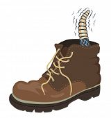 Illustration of a rattlesnake inside a walking boot