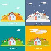 Seasons Change Autumn Winter Summer Spring Village Hills Field Landscape Icon Website Greeting Card