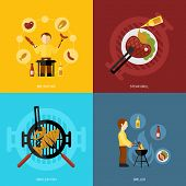 picture of fish icon  - Bbq grill design concept set with fish and meat steaks cooking icon flat isolated vector illustration - JPG