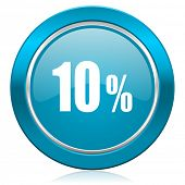 10 percent blue icon sale sign