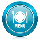menu blue icon restaurant sign
