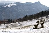 Mountain Village Of Tonezza And A Bench