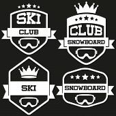 Set of Vintage SKI and Snowboard Club Badge Label