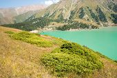 foto of shan  - Spectacular scenic Big Almaty Lake Tien Shan Mountains in Almaty KazakhstanAsia at summer - JPG